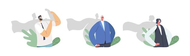 Biurowe superbohaterowie postacie męskie i żeńskie z cieniem w płaszczach superbohaterów stoją z rękami akimbo, demonstrują moc. najlepszy pracownik, rywalizacja zespołu płeć płci. ilustracja wektorowa kreskówka ludzie