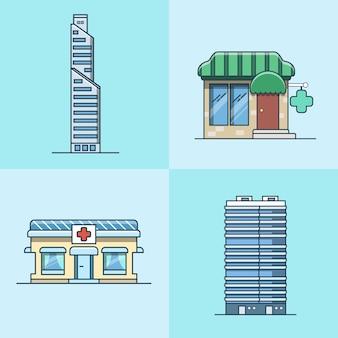 Biurowiec wieżowiec centrum biznesowe apteka szpital architektura budynku zestaw. ikony stylu płaski zarys obrysu liniowego. kolekcja ikon kolorów.