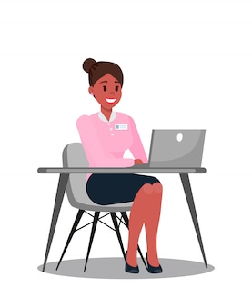 Biurowy kierownik używa laptopu wektoru ilustrację