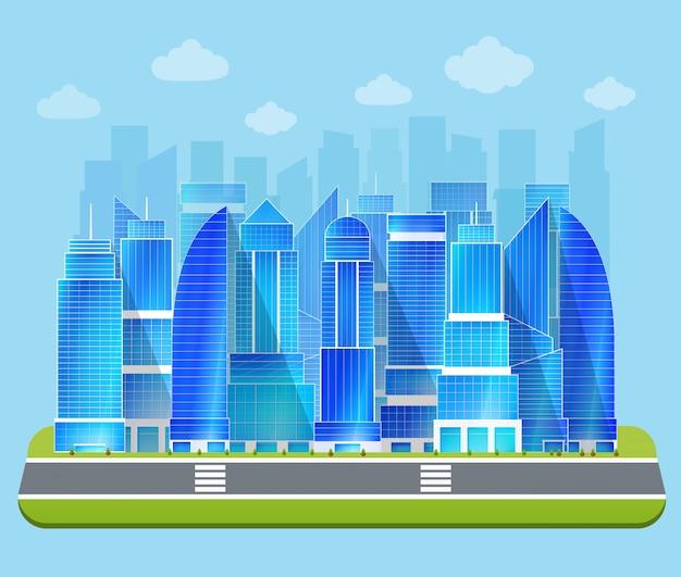Biurowy przemysłowy pejzaż miejski