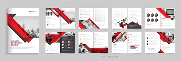 Biznes 16 stron broszura szablon projekt czerwony kolor kreatywne kształty wektor premium