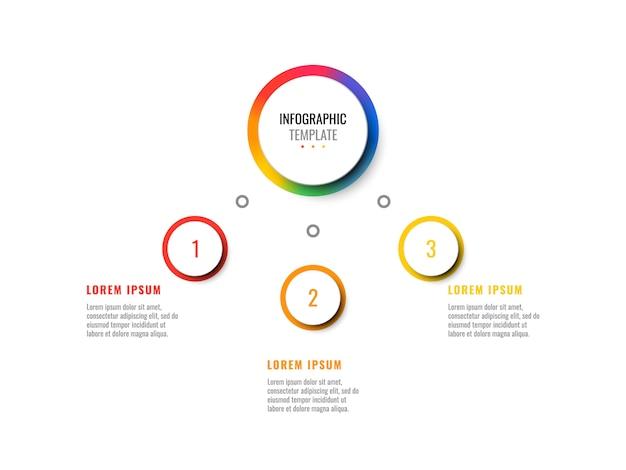 Biznes 3d realistyczna plansza z trzema krokami. nowoczesny plansza szablon z okrągłymi elementami