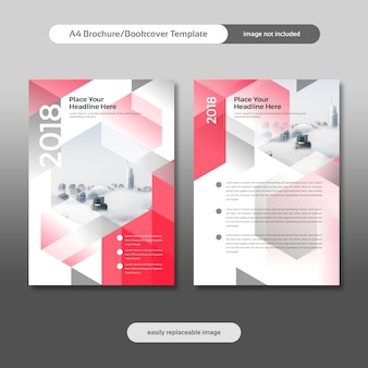 Biznes broszura, ulotka, projekt bookcover z tłem miasta i geometryczne kształty