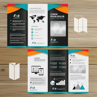 Biznes broszurowy tri fold ulotka wektor ulotki