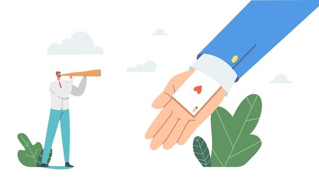 Biznes charakter spojrzeć w lunetę na ogromnej dłoni z asem w rękawie. pojęcie nieuczciwej konkurencji. oszustwo, przewaga w biznesie. biznesmeni widzą ukrytą kartę. ilustracja wektorowa kreskówka ludzie