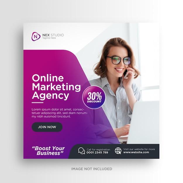 Biznes cyfrowy marketing mediów społecznościowych baner kwadratowy szablon ulotki