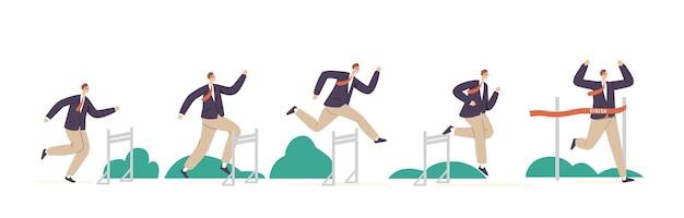Biznes człowiek charakter skok przez przeszkodę, bieganie z przeszkodami konkurencji. biznesmen skoki przez bariery, krzyż mety. przywództwo, sport challenge, leader chase. ilustracja kreskówka wektor