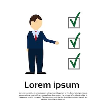 Biznes człowiek głosowanie lista kontrolna wybór papieru