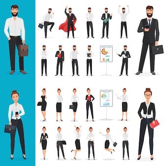 Biznes człowiek i biznes kobieta charakter biurowy w różnych pozach zestaw projektów.