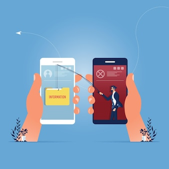 Biznes człowiek kradnie dane, atak hakera na smartfonie