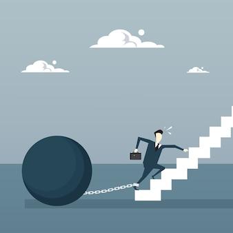 Biznes człowiek łańcucha związane nogi chodzenie na górze