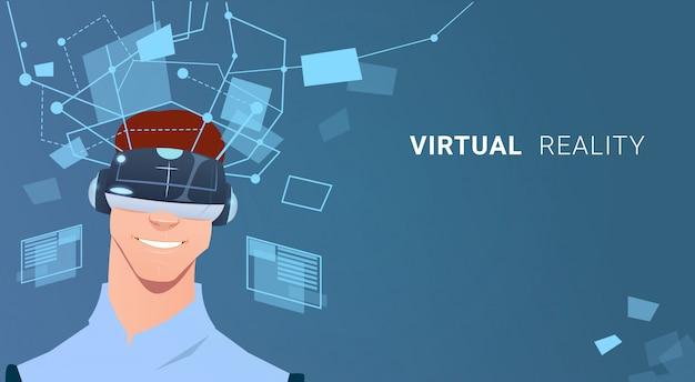 Biznes człowiek nosić wirtualnej rzeczywistości okulary cyfrowe wykres wykres interfejs