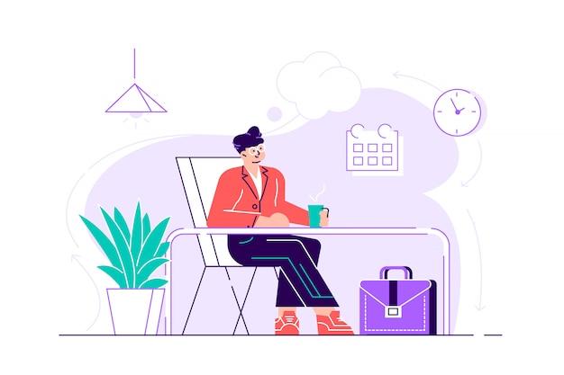 Biznes człowiek odpoczywa i marzy o czymś w swoim miejscu pracy. nowoczesne wnętrze biura. pomysł na biznes. ilustracja projektu urządzony na stronie internetowej, karty, plakat, media społecznościowe.