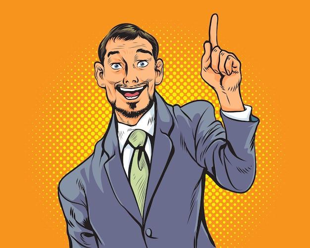 Biznes człowiek palcem wskazującym dostać pomysł retro w stylu komiksów pop art.