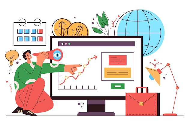 Biznes człowiek pracownik biurowy charakter patrząc w przyszłość koncepcja planowania rozwoju projektu biznesowego wektor płaski kreskówka graficzny ilustracja flat