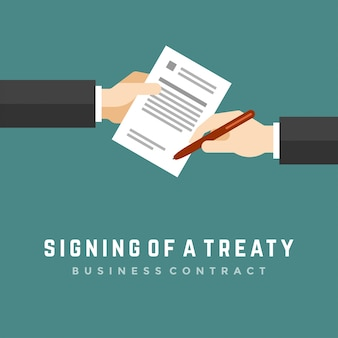 Biznes człowiek ręce trzymając umowy i długopis płaski ilustracja