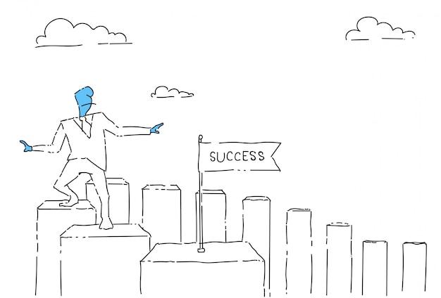 Biznes człowiek spaceru wykres bary do koncepcji sukcesu finansowego