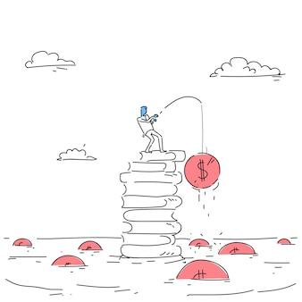 Biznes człowiek stojący na książki stos połowów strategii pieniądze sukcesu edukacji wywiadu koncepcja