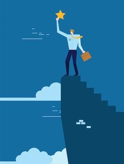 Biznes człowiek stojący na szczycie wzgórza i osiągnięcia gwiazdy. koncepcja sukcesu w biznesie