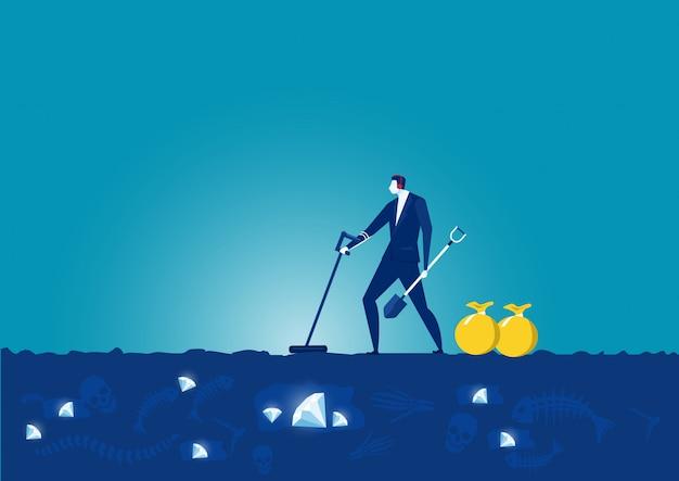 Biznes człowiek szuka wykrywacza metalu i łopaty w poszukiwaniu cennego diamentu
