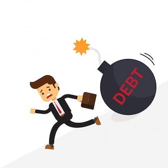 Biznes człowiek ucieka dług bomby