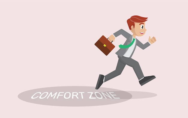 Biznes człowiek wychodzi ze swojej strefy komfortu. koncepcja innowacji,