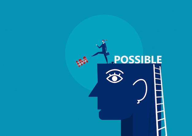 Biznes człowiek wykopać niemożliwe duże głowy. ilustracja koncepcja biznesowa wektor.