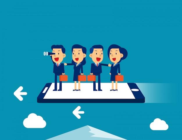Biznes drużyna lata na smartphone