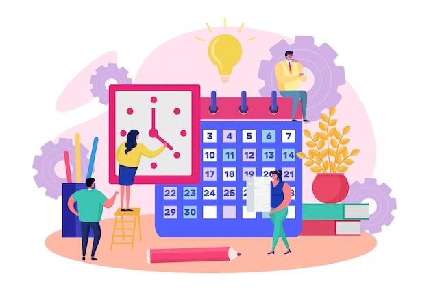 Biznes drużyny ludzie planuje pracę, ilustracja. postać mężczyzny kobieta przypomina przypomnienie i harmonogram organizacji czasu