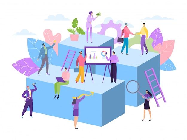 Biznes drużyny praca, pomocnicza pojęcie ilustracja. kobieta mężczyzna caharcter pracują razem na sukces pomysłu, pomoc