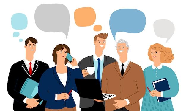 Biznes drużyny rozmowa z bąblami mówi ilustrację