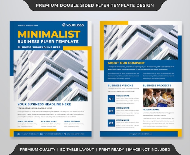 Biznes dwustronny projekt szablonu ulotki z czystym stylem i minimalistycznym układem
