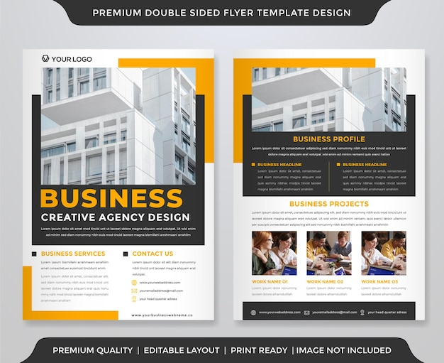 Biznes dwustronny projekt szablonu ulotki z koncepcją a4 i minimalistycznym układem