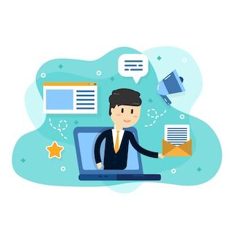 Biznes e-commerce, sklep internetowy, tło poczty internetowej
