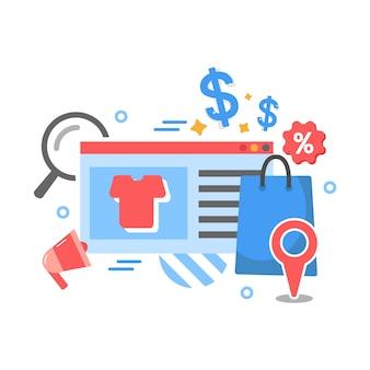 Biznes e-commerce, sklep internetowy, zakupy w tle