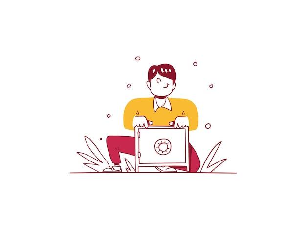 Biznes finanse człowiek chroń i oszczędzaj pieniądze sejf koncepcja ręcznie rysowane styl projektowania ilustracja