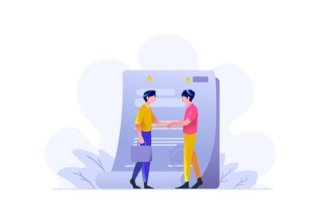 Biznes finanse człowiek zrobić umowę ofertę ofertę dokument znak płaski ilustracja wektorowa