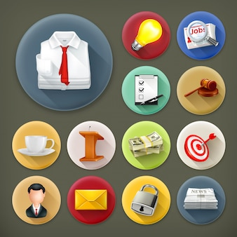Biznes i biuro, długi cień zestaw ikon