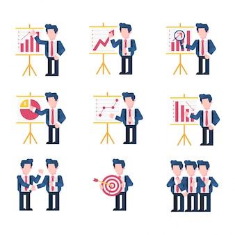 Biznes i finanse ilustracja płaski styl, wykres zysków, wykres w górę, dochodzenie, prezentacja, w dół, transakcja, cel, praca zespołowa