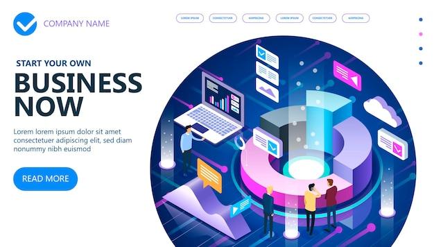 Biznes i finanse koncepcja izometryczna wektor, marketing izometryczny ludzie pracujący razem i opracowujący udaną strategię biznesową, ilustracji wektorowych