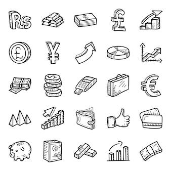 Biznes i finanse ręcznie rysowane zestaw ikon