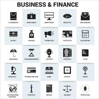 Biznes i finanse zestaw ikon