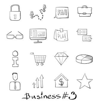 Biznes i sklep zestaw ikon ręcznie rysowane w stylu bazgroły na białym tle.