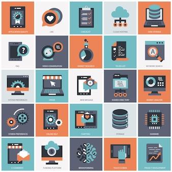Biznes i technologia zestaw ilustracji