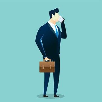 Biznes ilustracja biznesmen korzystać z telefonu komórkowego