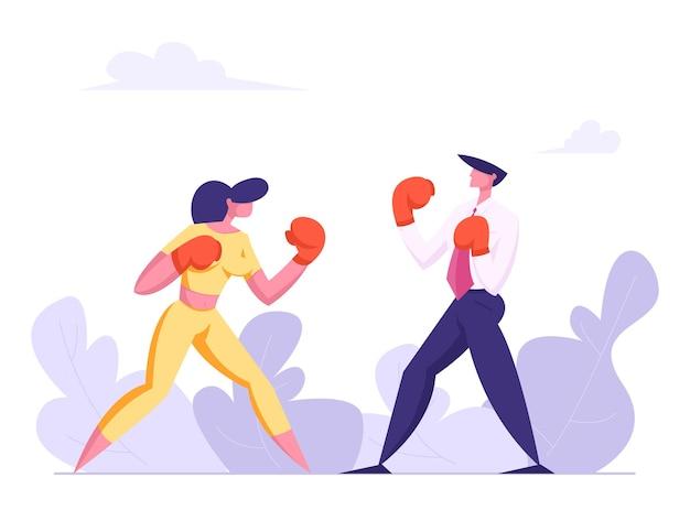 Biznes ilustracja boks ludzi