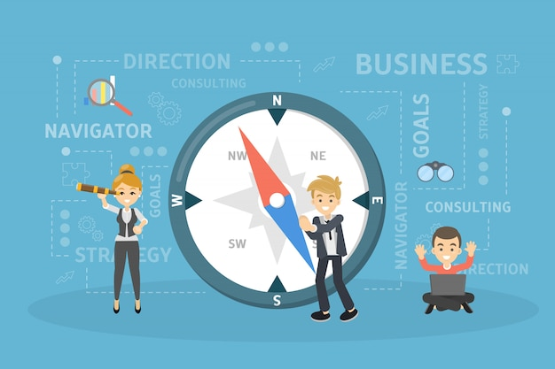 Biznes ilustracja kompas.