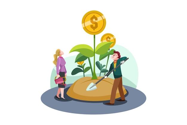Biznes ilustracja koncepcja inwestycji