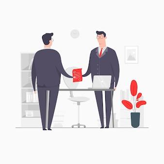 Biznes ilustracja koncepcja postaci człowieka umowa biznesowa ręka wstrząsając umowę partnerstwa
