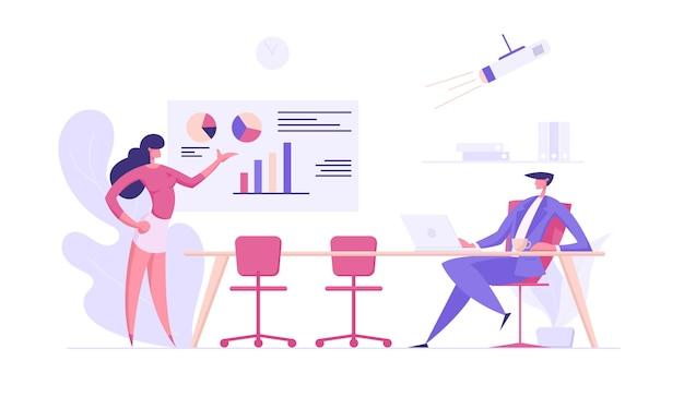 Biznes ilustracja koncepcja sukcesu prezentacji